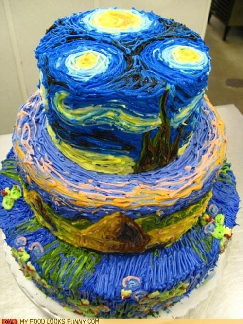 art cake frosting starry night Van Gogh - 6400194048