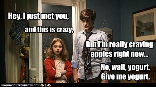 amy pond,call me maybe,craving,doctor who,hey i just met you,Matt Smith,the doctor,yogurt