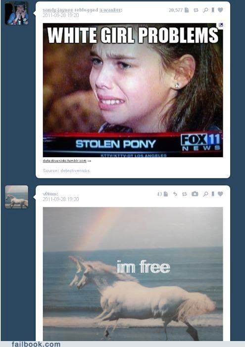free horse pony tumblr white people white people problems - 6400479488