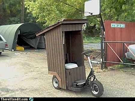 outhouse,portapottie,portapotty,scooter