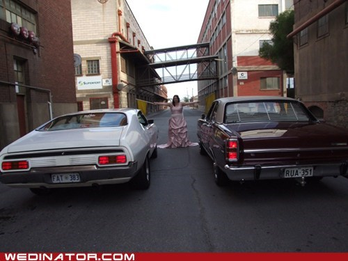 bride,cars,drag race,funny wedding photos