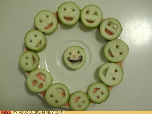circle faces mushroom mustache zucchini