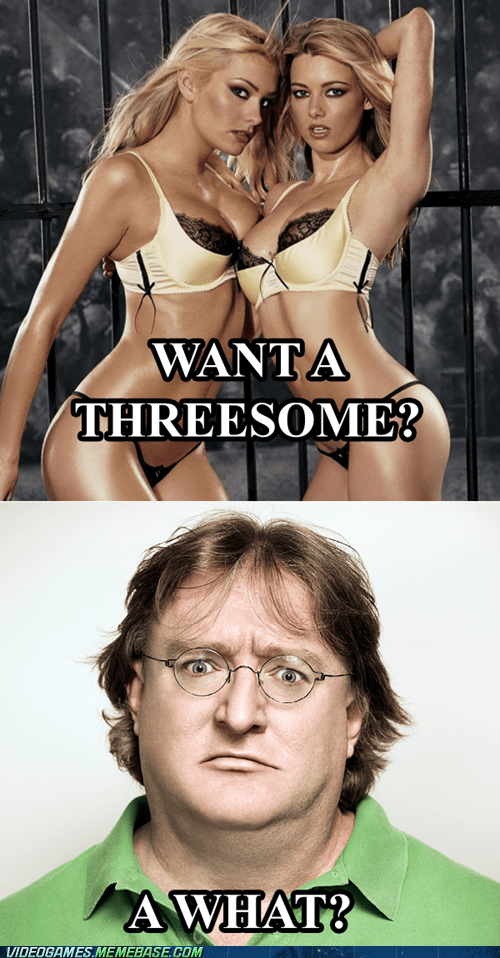 count to three gabe newell meme threesome valve - 6402026752