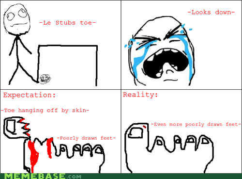 Rage Comics stubbed toe toe wound