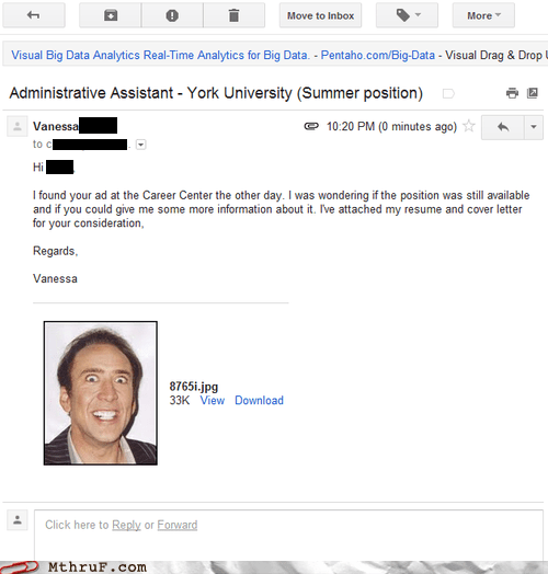email g rated gmail job application job interview monday thru friday nicolas cage