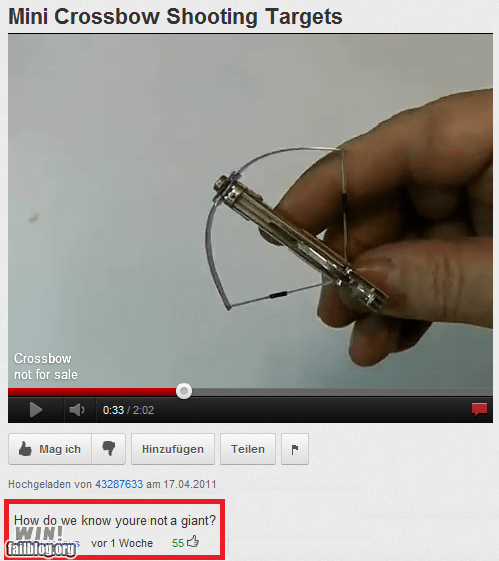 clever,comment,crossbow,giant,tiny,youtube