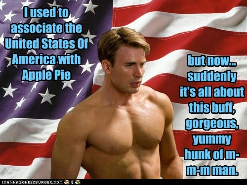 I used to associate the United States Of America with Apple Pie but now... suddenly it's all about this buff, gorgeous, yummy hunk of m-m-m man.