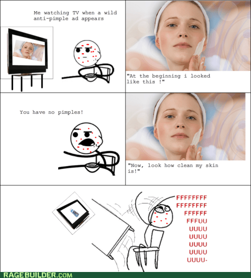 acne,commercials,fu guy,pimples,Rage Comics,table flip