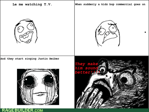 justin bieber,kidz bob,Music,numb,Rage Comics,raisin horror