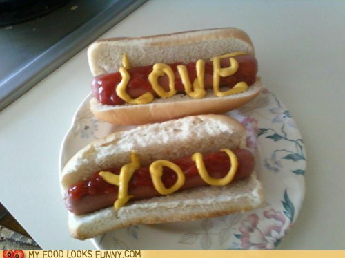hot dogs love love you message mustard sweet