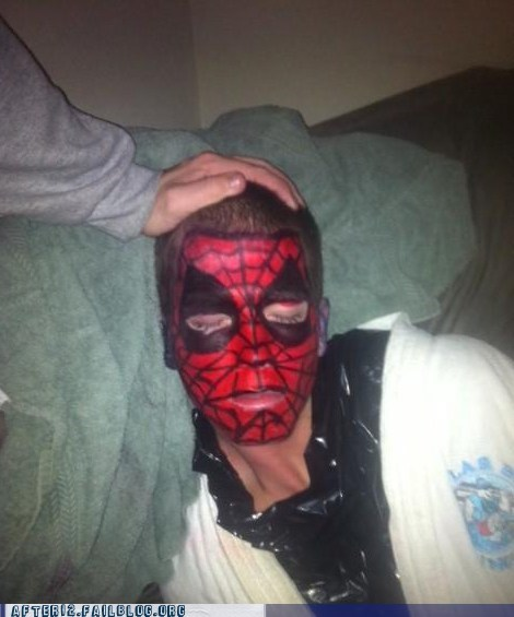 drawn on,marker,passed out,sharpie,Spider-Man,the amazing spiderman