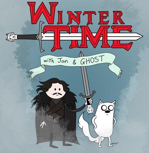 adventure time,crossover,Fan Art,Game of Thrones,jon stark