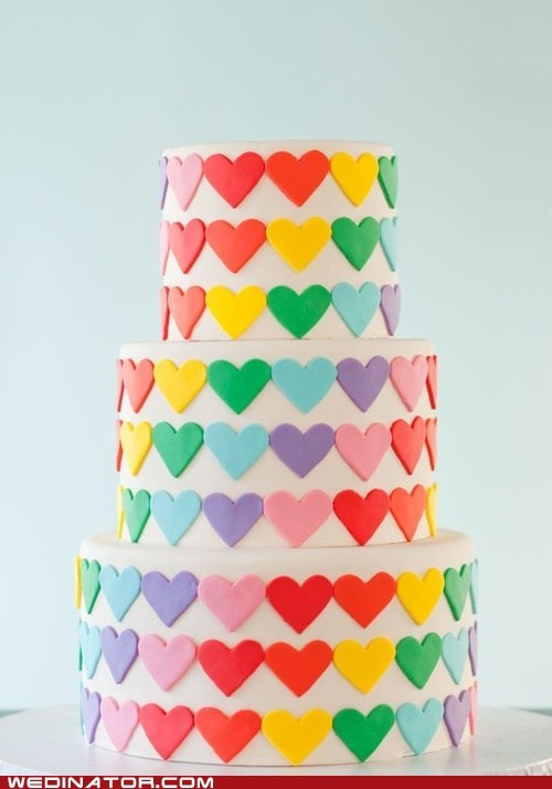 cakes,funny wedding photos,hearts,rainbow,wedding cakes