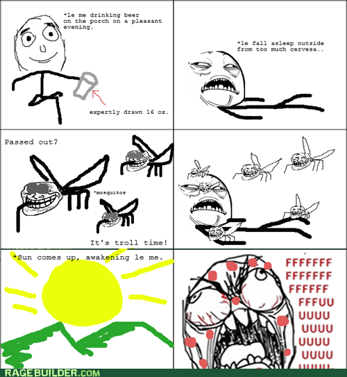 beer,fu guy,mosquitos,Rage Comics,summer