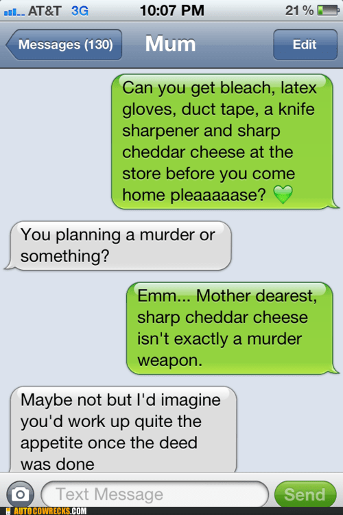 AutocoWrecks,g rated,murder weapon,planning a murder,sharp cheddar,she knows