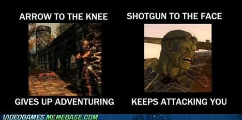 arrow to the knee comparison fallout meme Skyrim the internets - 6403076608