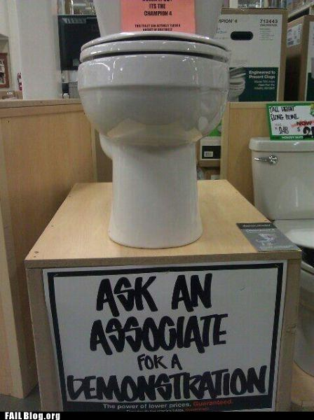 ask for help,demonstration,fail nation,g rated,hardware store,sign,toilet