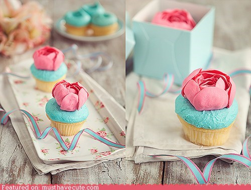 blue cupcakes epicute flowers gum paste pink - 6403257088