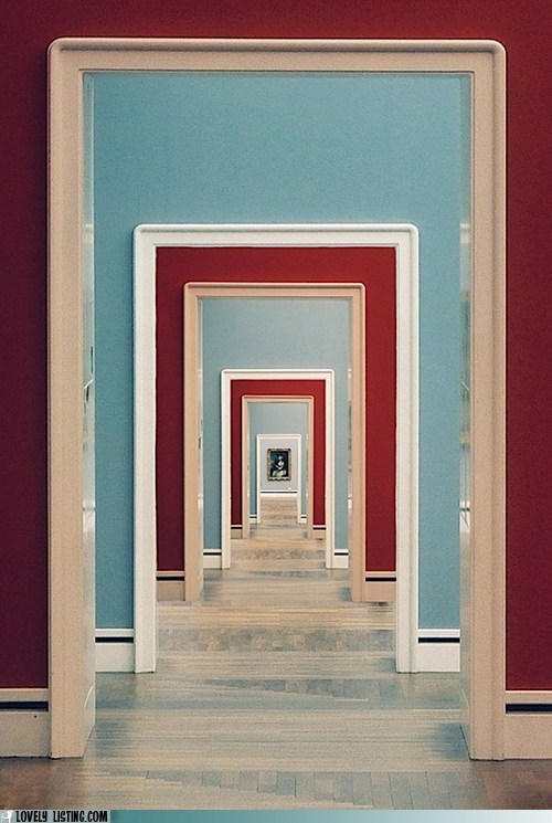 doorways hallway red turquoise - 6403350784