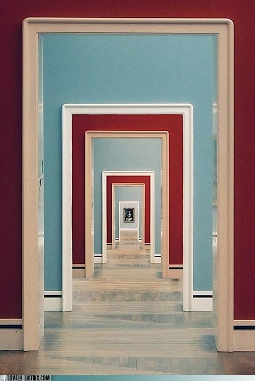 doorways hallway red turquoise - 6403350784