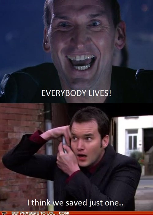 christopher eccleston,difference,doctor who,gareth david-lloyd,happy,ianto,lives,the doctor,Torchwood
