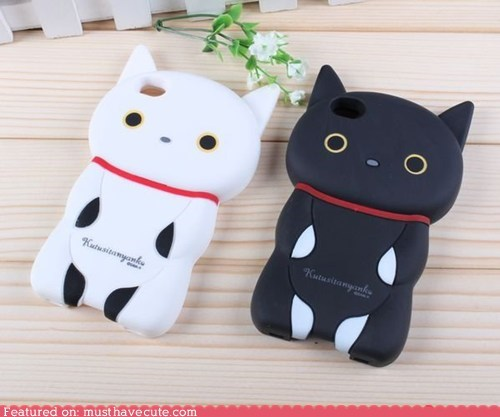 black case cat cover iphone kitty rubber white - 6404117248
