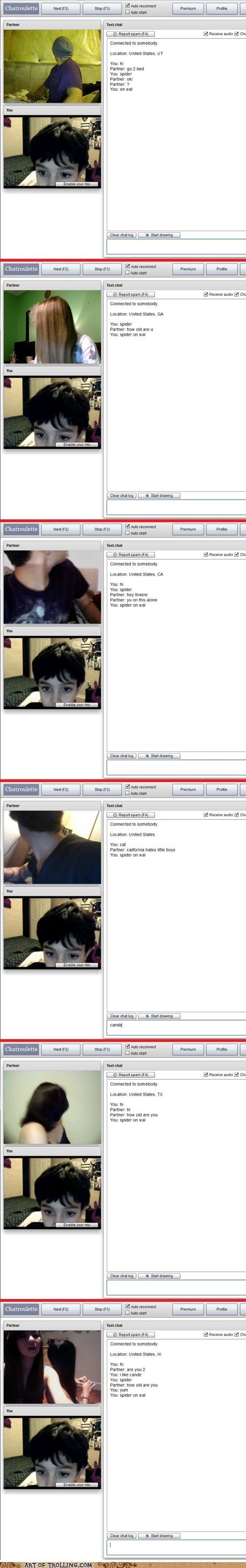Chat Roulette kid spider - 6404706048