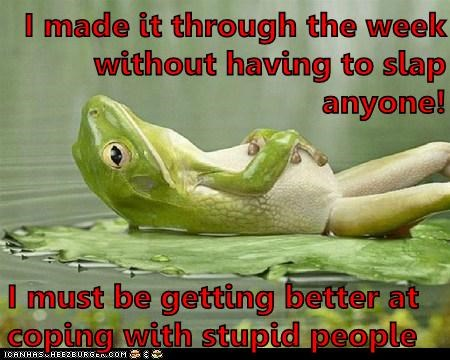 I made it through the week without having to slap anyone! I must be getting better at coping with stupid people