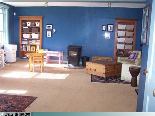 blue built-ins wall wood stove - 6405102848
