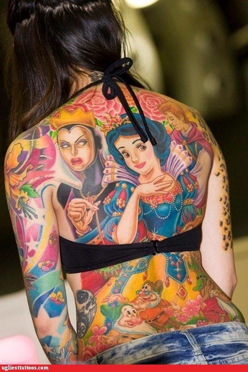back tattoos,disney,snow white,win