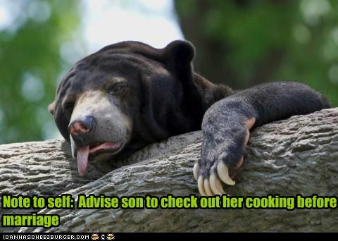 advice,bear,cooking,food,gross,note to self,sick,throwing up