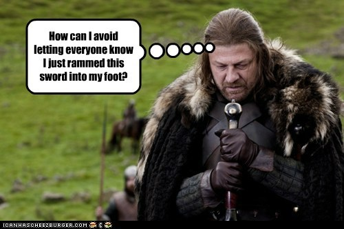 Eddard Stark foot Game of Thrones oops sean bean sword - 6406377472
