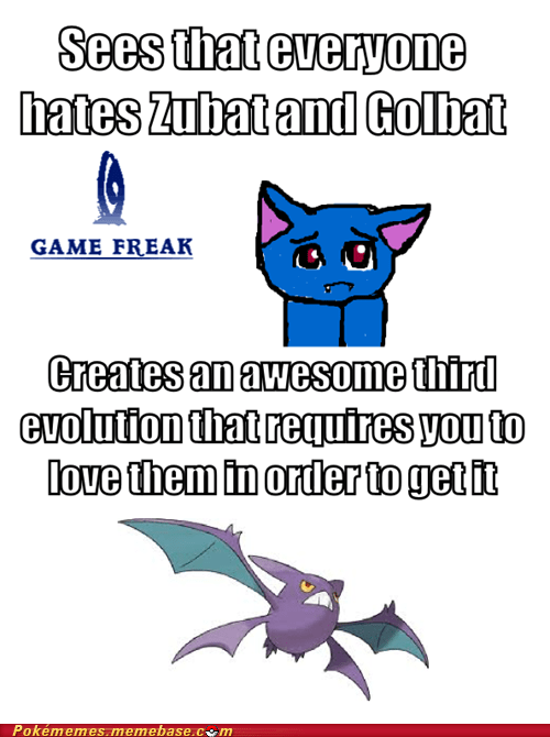 crobat,evolution,Game Freak,love,Memes,zubat