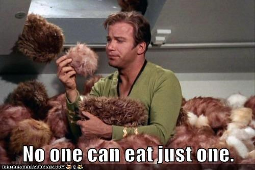 Captain Kirk,delicious,eating,Shatnerday,Star Trek,tribbles,William Shatner