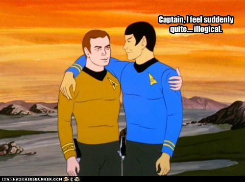 Captain Kirk,flirting,hot,hug,illogical,Leonard Nimoy,Shatnerday,Spock,Star Trek,William Shatner