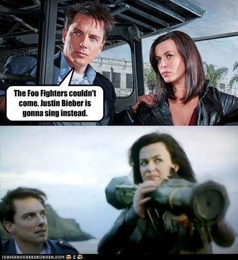 Captain Jack Harkness,eve myles,foo fighters,Gwen Cooper,john barrowman,justin bieber,Torchwood