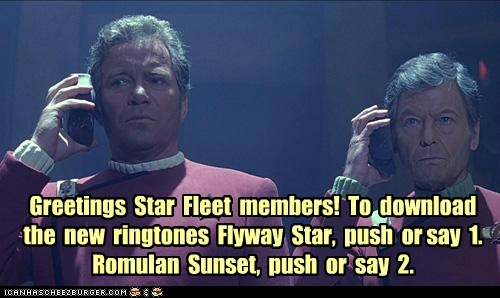 Captain Kirk,cell phones,DeForest Kelley,McCoy,ring tones,romulan,Shatnerday,Star Trek,starfleet,William Shatner