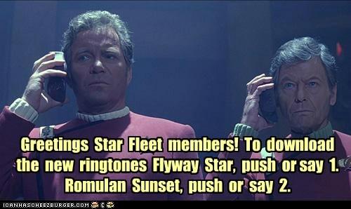 Captain Kirk cell phones DeForest Kelley McCoy ring tones romulan Shatnerday Star Trek starfleet William Shatner - 6407273216