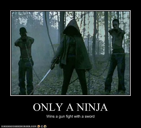 ONLY A NINJA Wins a gun fight with a sword