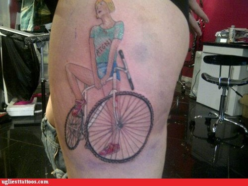 bicycle,disproportionate,thigh tattoos