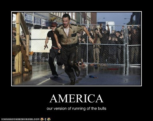 america Andrew Lincoln Rick Grimes running running of the bulls The Walking Dead zombie