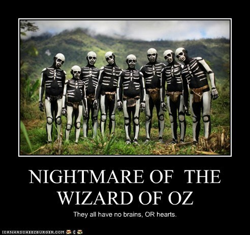 NIGHTMARE OF THE WIZARD OF OZ They all have no brains, OR hearts.