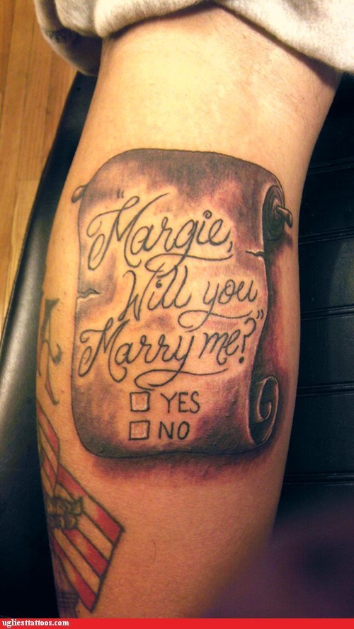 arm tattoo,marriage proposal,scroll