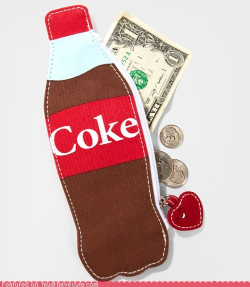 bottle,coin purse,coke,soda,wallet
