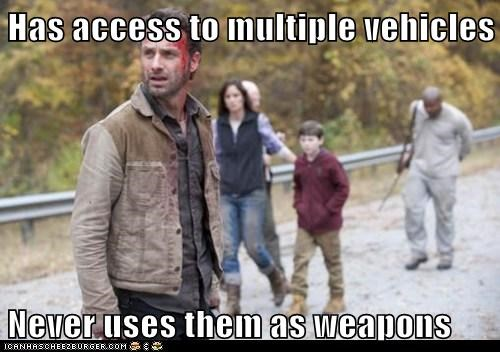 Andrew Lincoln,never uses any,Rick Grimes,vehicles,The Walking Dead,weapons,zombie