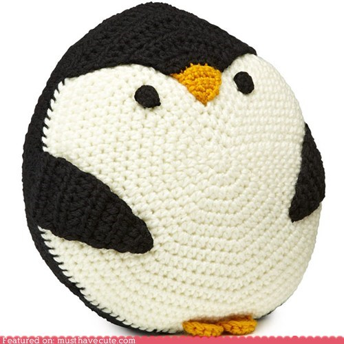 Amigurumi Crocheted penguin Pillow round