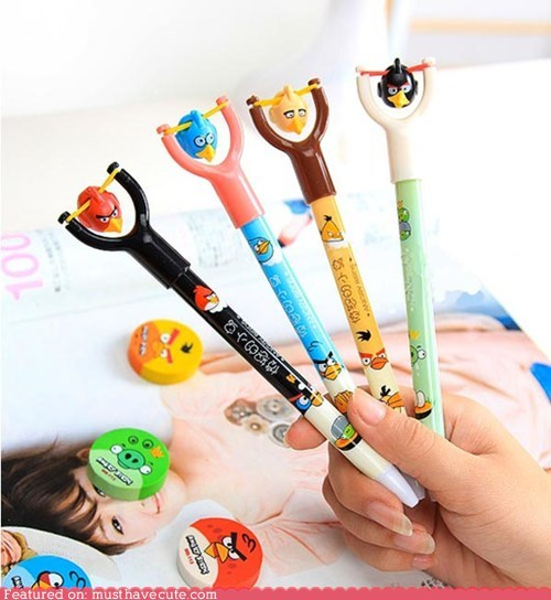 angry birds pen sling shot writing