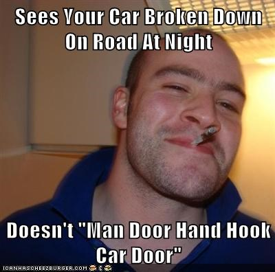 car,Good Guy Greg,man door hand hook car do,road