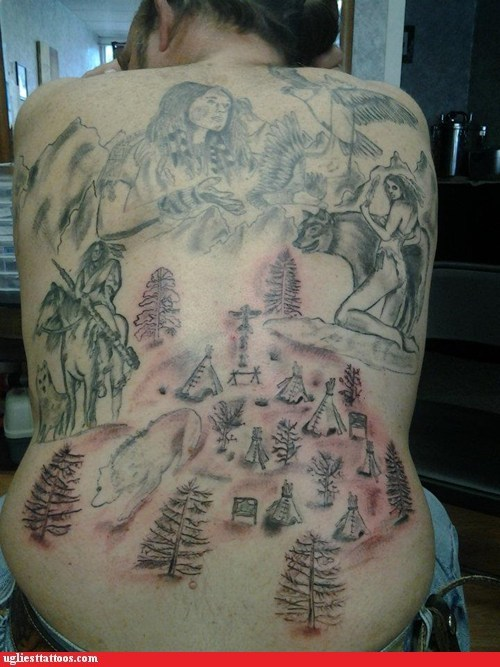 back tattoos,bears,native americans,tepees,trees
