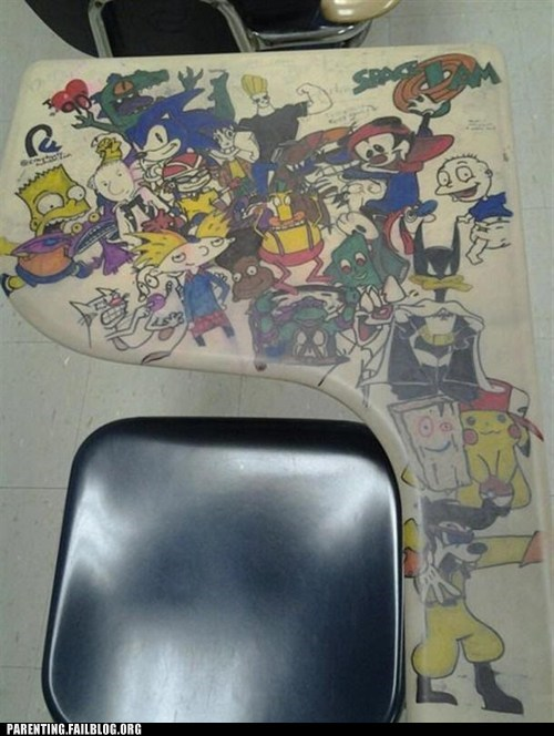 90s cartoons,nickelodeon,rockos-modern-life,school desk,the simpsons